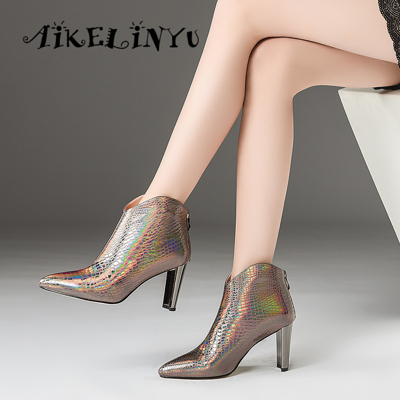 AIKELINYU automne hiver mode Sexy à talons hauts en cuir véritable bottes femmes pierre grainé bottines dame Furry solide Zip bottes - 6