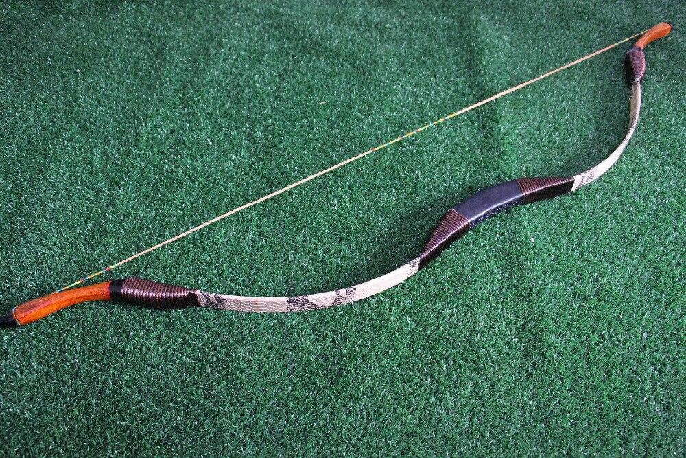 Traditionnelle À La Main Tour Longbow Recurve Tir À L'arc En Fiber De Verre de Chasse Serpent Peau Arc Sport En Plein Air