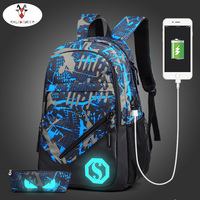 Raged Sheep Student Backpack School Bags Boys Luminous Animation USB Backpack Charge Changeover Joint Teenager Computer
