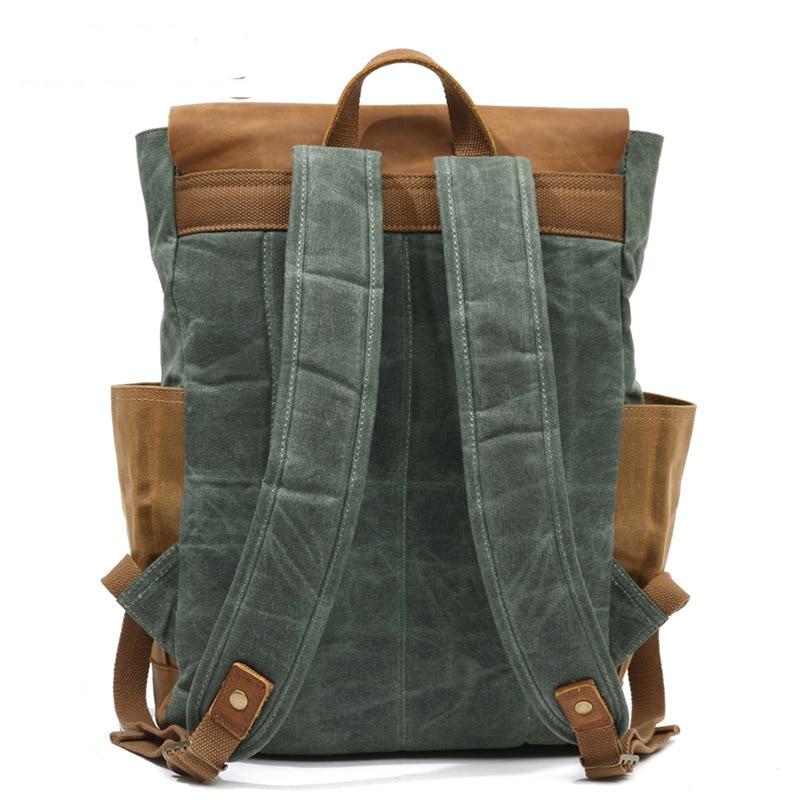 Retro Contrast Oil Wax Waterproof Canvas Bag Travel Backpack Computer Schoolbag Large Capacity Women Backpack 7
