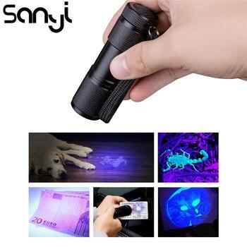 9 Светодиодный УФ-вспышка светильник фонарь светильник 395nm ультра фиолетовый светильник черный светильник УФ-лампа фонарь AAA батарея для об...