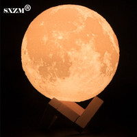 SXZM Night Light 3D Printing Moon Lamp Lunar USB Charging Night Light Touch Control Brightness Two