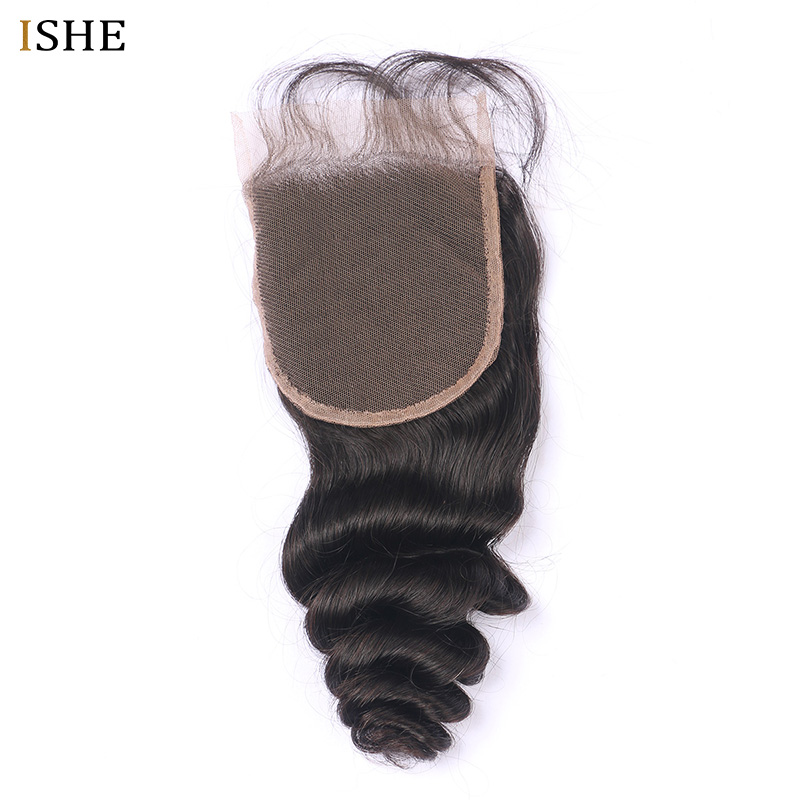 Human Hair Weaves Strict Ishe Brazilian 100% Human Hair Loose Wave 10-20 Inch 4*4 Swiss Lace Closure Remy Weaving Natural Color Free Shipping 1pc/lot Comfortable And Easy To Wear