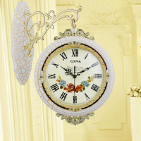 Free Shipping Solid Wood Korean White Crackle lacquer Clock Double sided Wall Clock European Two sided Clock Large Wall Clock