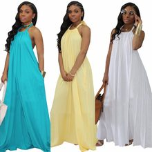 8a52a134d1d Pockets Casual Streetwear Maxi Dress Summer Halter Sleeveless Floor Length  Robe Lady Solid Backless Sexy Loose Vestido SMR8964