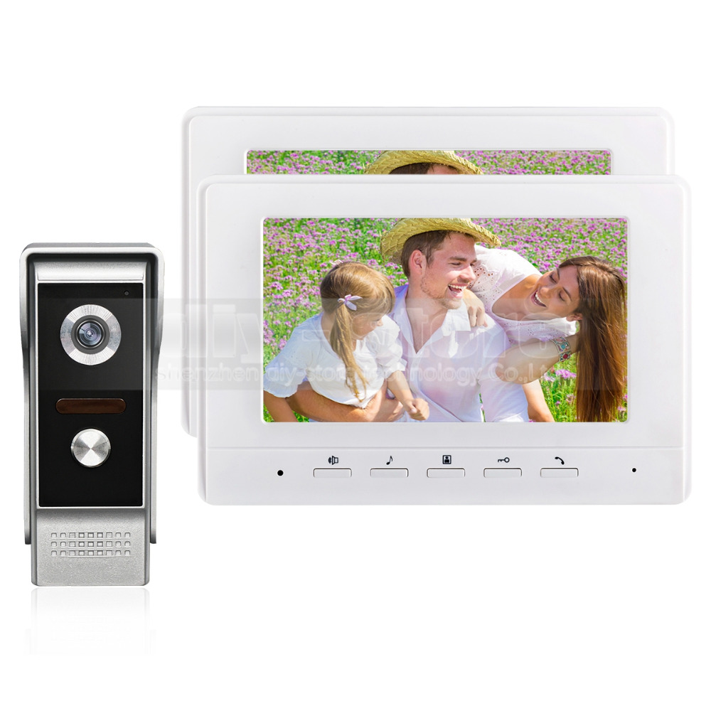 DIYSECUR 7inch Video Intercom Video Door Phone 700TV Line IR Night Vision Outdoor Camera for Home / Office Security System 1V2