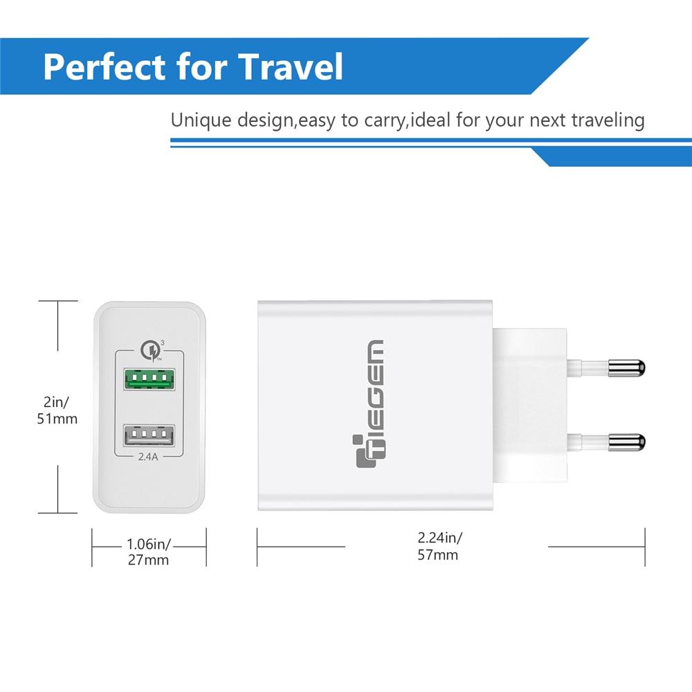 TIEGEM 30W Pengisian Cepat 3.0 USB Wall Charger Adapter UNI EROPA US - Aksesori dan suku cadang ponsel - Foto 5