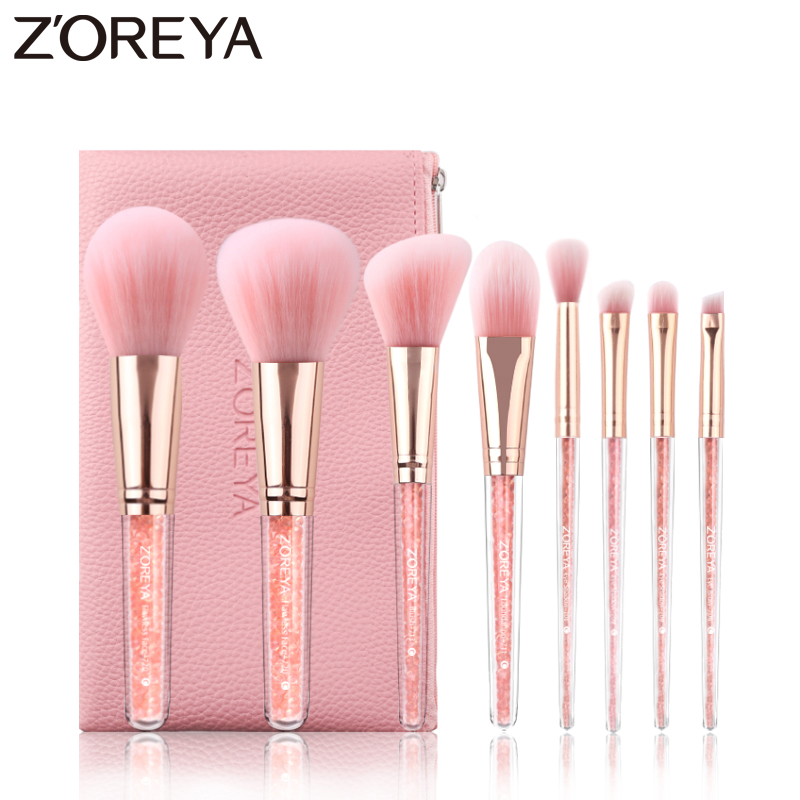 Zoreya Brand 8Pcs Pink Crystal Makeup Brush Set Eye Shadow Flawless Concealer Crease Eyebrow Foundation Brushes Face Brush Tools