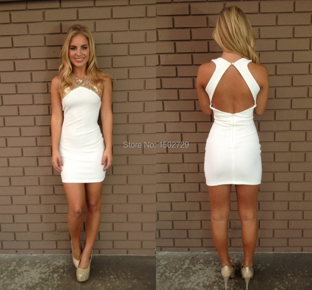 2017 White Short Homecoming Dresses Gold Sequins Halter 8th Grade Prom  Dresses Backless Junior Party Graduation 26523ca911e5