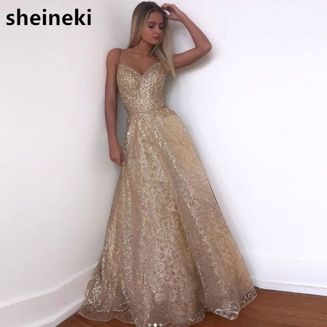 2019 New Arrival Sexy V Neck Sequined Champagne Gold Long Cheap Evening Dress Sheer Back Formal Dress Robe De Soiree Longue