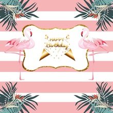 Laeacco Baby Party Flamingos Pink Stripes Leaves Photography Backgrounds Customized Photographic Backdrops For Photo Studio flamingos