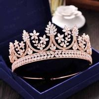 High end Zircon Wedding Bridal Tiara Cubic Zirconia Princess Copper Crown Bride Accessories CZ Head Piece Wedding headband JS804