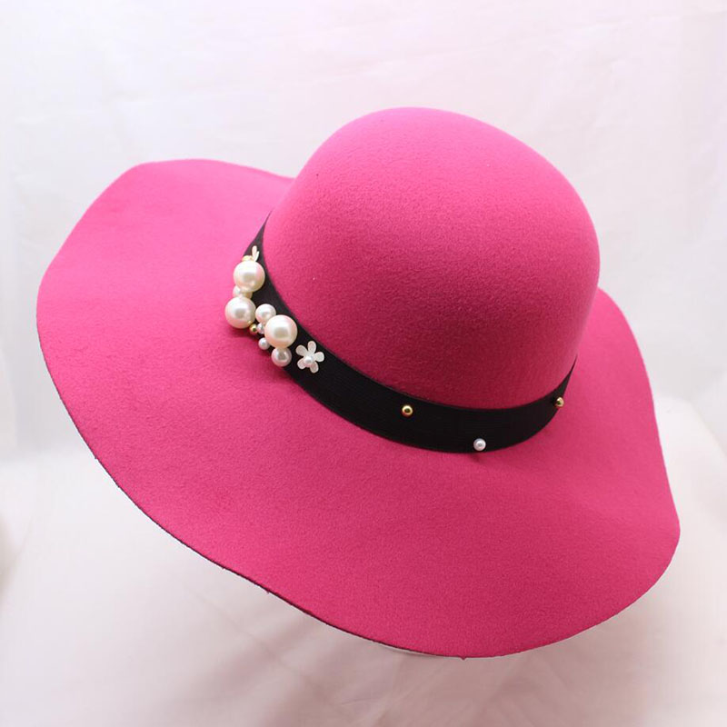 4cba6502 SUOGRY Autumn Winter Hats for Women Girls Vintage Soft Wool Felt Bowler  Fedoras Solid Ladies Floppy
