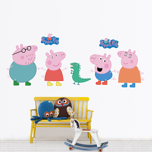 Us 4 69 3d Wall Sticker For Kids Room Removable Wallpaper Baby Peppaed Pig Diy Cute Cartoon Self Adhesive Wallpaper Roll Sticker Muraux In