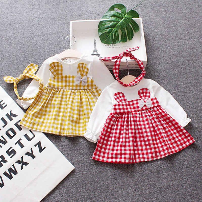 אביב תינוק בנות בגדי סרבל שמלת סרט ליילוד תינוקות 1st יום הולדת תינוק שמלות בנות ארוך שרוול בגדי שמלה