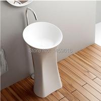Bathroom Pedestal Washbasin Cloakroom Solid Surface Stone Freestanding Vanity Washing Sink W9003