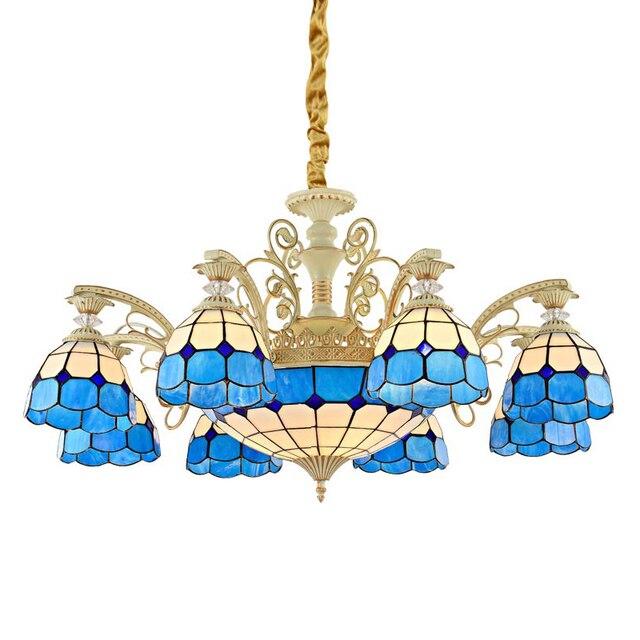 Art Deco Chandelier Tiffany Decorative Colored Glass Chandeliers Flush Mount For Kitchen