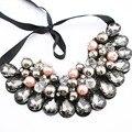 2016 crystal choker collar mujeres flor colgante, collar de la cinta collar babero collar