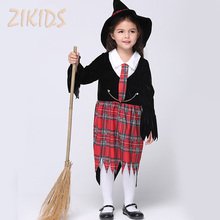 Girls Halloween Harry Potter Witch Costume Sorceress Cosplay Clothing Kids Carnival Party Masquerade Plaid Dresses(Dress+Hat)(China (Mainland))