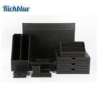 7 частей Настольный письменный прибор с стол Коврики файл стеллаж для хранения ящик Примечание держатель ткани бланка T06 черный/ коричневый