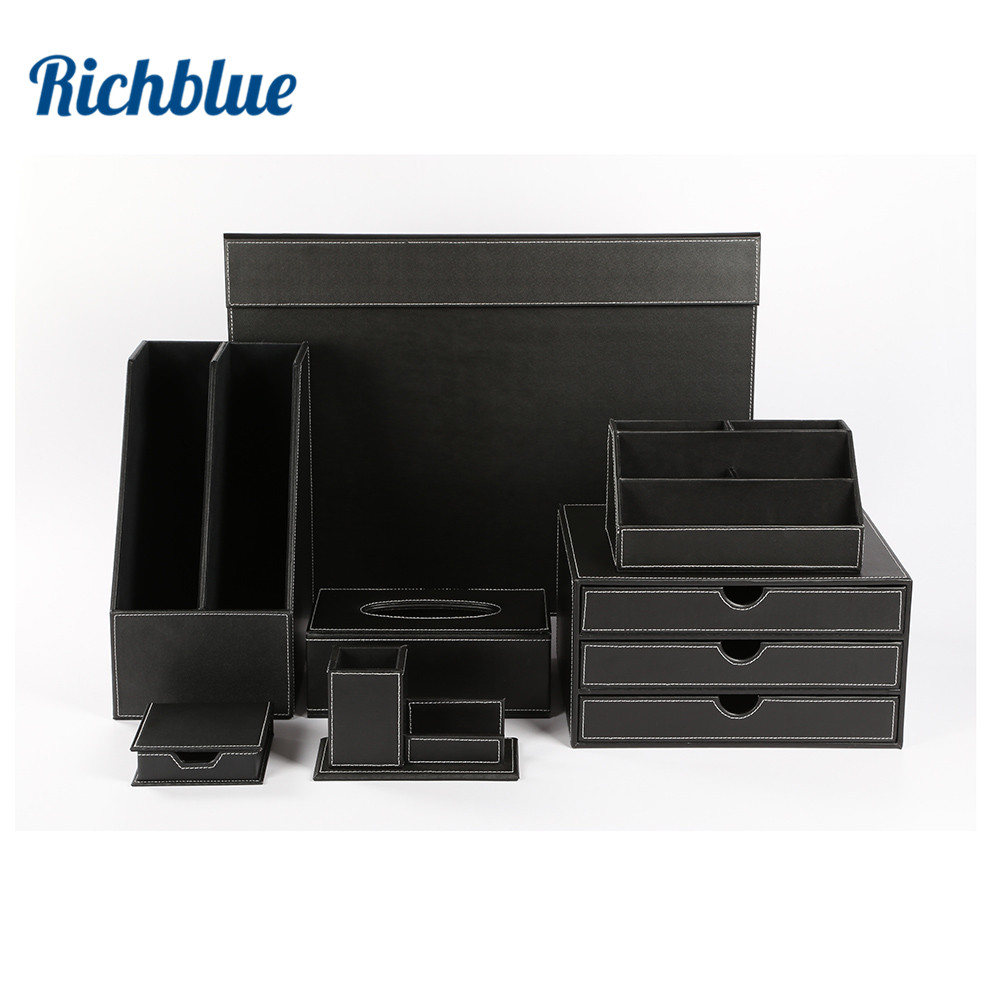 Desk Set 7-pièce avec Tapis de Bureau Rack De Stockage De Fichiers Tiroir Note De Support De Papeterie Boîte T06 Noir/Brun