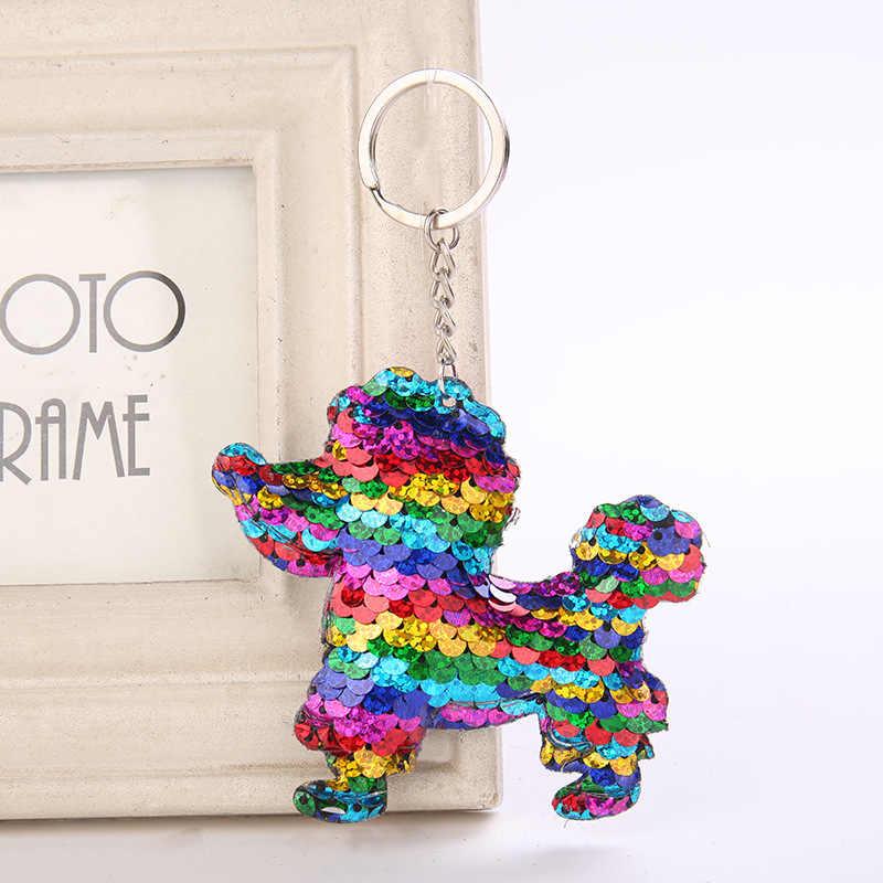 น่ารักพวงกุญแจสุนัข Glitter Pompom Sequins Key Chain ของขวัญผู้หญิง Llaveros Mujer กระเป๋ารถอุปกรณ์เสริม Key Chaveiro