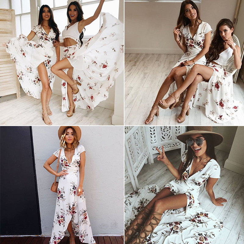 2019 Hotsale Long Summer Beach Dress Women Sexy Deep V Floral Chiffon Maxi Dress Front Split Bohemian Dresses robe ete in Dresses from Women 39 s Clothing