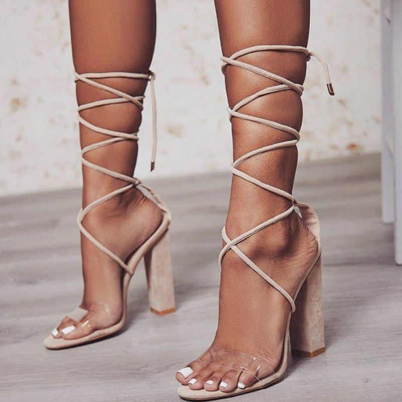 f5a7ee7250cc ... 2018 Sexy Women Pumps Open Toe Lace Up Heels Sandals Woman Sandals  Square Heels Women Shoes
