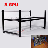 8 GPU Black Mining Frame Without Led Fans Aluminum Stackable For Ethereum BTC Mining Case