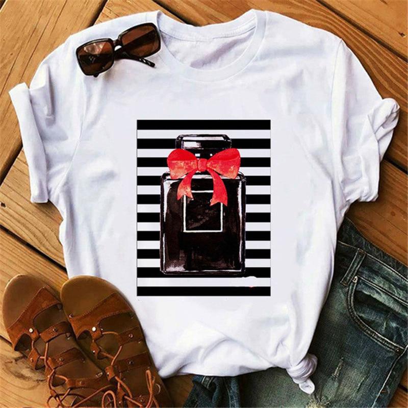Perfumer Floral Stripe   T     Shirt   Women Summer Fashion   Shirt   Female Streetwear   T  -  shirt   Vogue Clothing