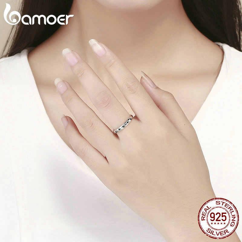 BAMOER 925 สเตอร์ลิงเงินสุนัข Cat Footprints แหวนสำหรับงานแต่งงานแหวนเครื่องประดับของขวัญวันวาเลนไทน์ SCR445