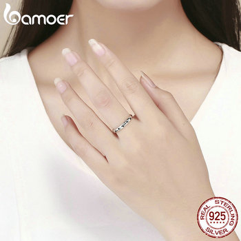 BAMOER 925 Sterling Silver Stackable Dog Cat Footprints Finger Rings for Women Wedding  Ring Jewelry Valentine's Day GIFT SCR445 4