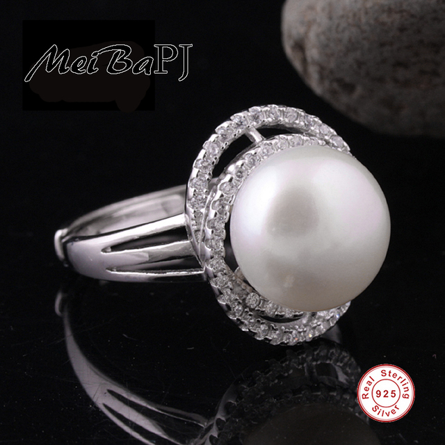 [MeiBaPJ] 2016 new design top qualtiy 100% real freshwater pearl ring for women 925 silver hand jewelry ring