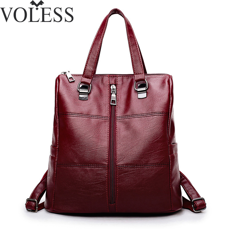 2018 Fashion Women Backpack Leather Women Shoulder Bags Large Capacity Backbag Female Zipper School Bag Travel Bag Mochila Sac ...