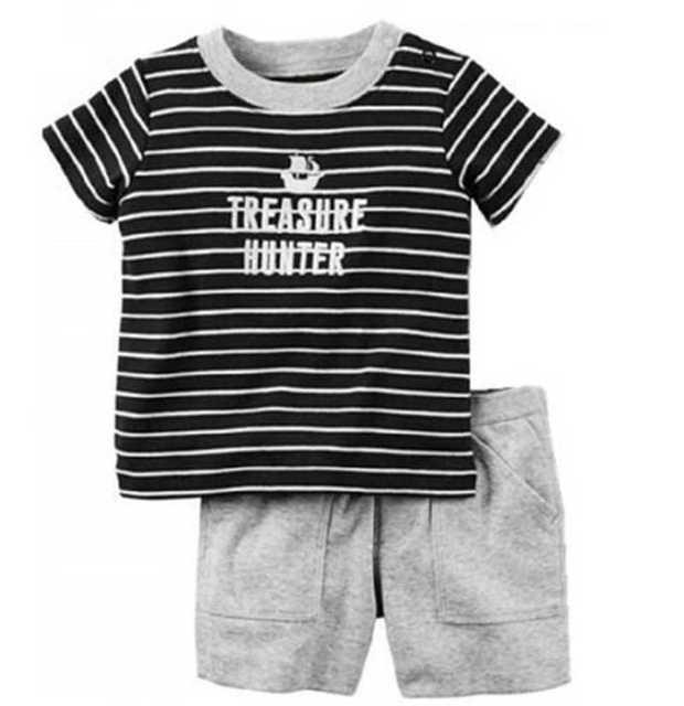 Recém-nascidos Conjuntos de Roupas Tarja Pirata Do Bebê Menino 2 Pcs Roupas  Terno de 784b91c61108c