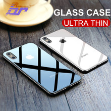 BR Glossy Glass Case For iPhone X Cases Ultra Thin Transparent Back Glass Cover Case For iPhone X 10 Luxury Slim Soft TPU Edge(China)