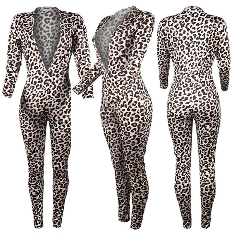 87e149d41c38 2019 Hot Sell Romper Women Leopard Jumpsuit Print Lacing Elegant Sexy Spring  Bodysuit Female Overalls Casual Catsuit Dungarees-in Jumpsuits from Women s  ...