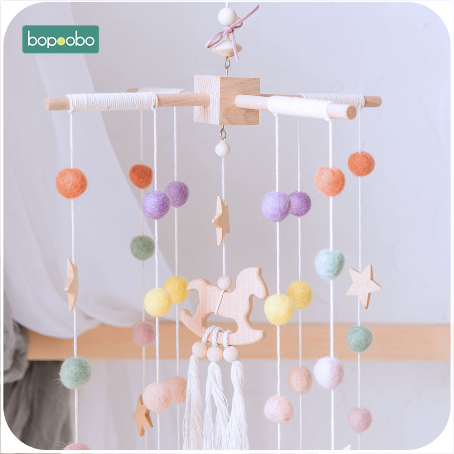 Bopoobo Baby Bed Hanging Rattles Toys Crib Mobiles Beech Wood Trojan Rattle Nursing Children Products Wool Balls Kid Room Decor