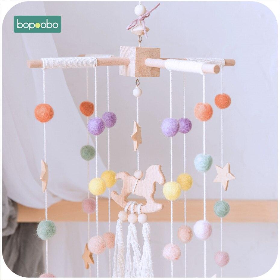 bopoobo cama pendurada chocalhos do bebe brinquedos de madeira de faia berco celulares chocalho criancas de