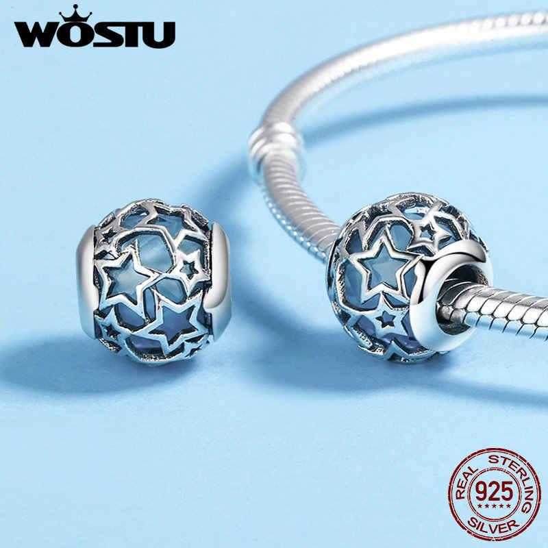 Cuentas de plata de ley 925 WOSTU de 4 colores brillantes con estrella de cristal azul calado para pulseras de dijes originales, joyería fina CQC411