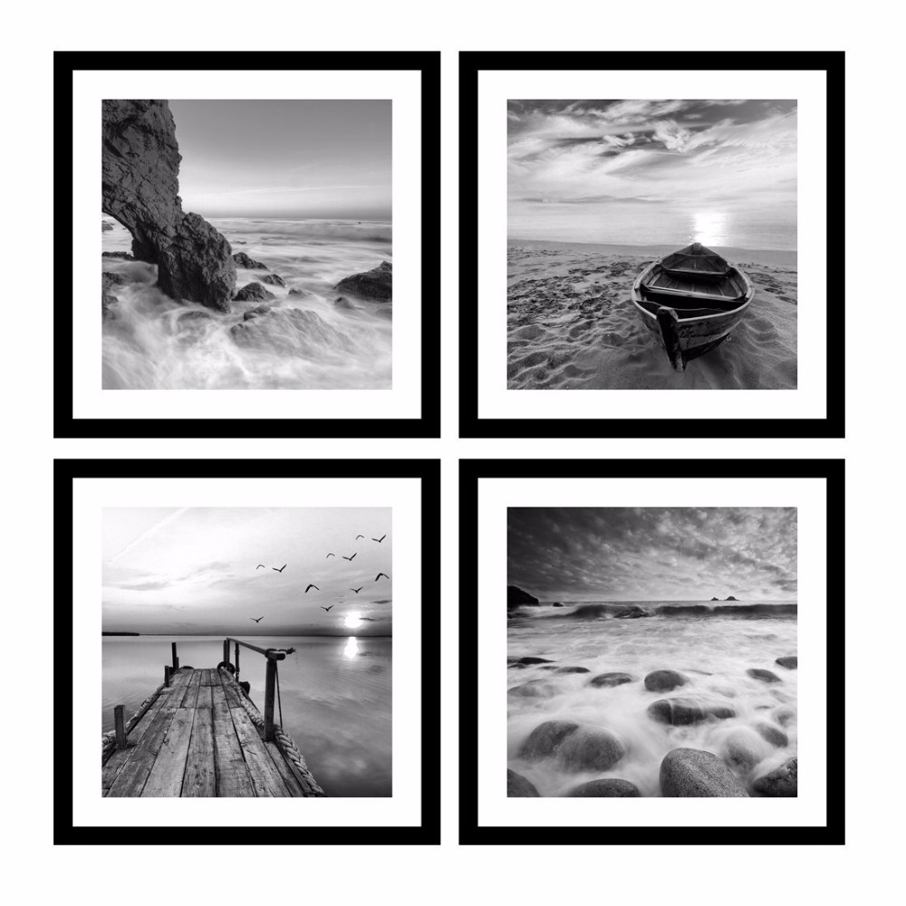 Black /& White Guitar Island Sunset Seascape CANVAS WALL ART Picture Print