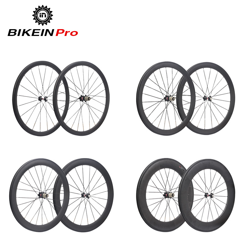 купить BIKEIN 3k Carbon 700C Road Bike Wheels Clincher Tubular 38mm 50mm 60mm 88mm Depth Rim Wheelset Cycling Bicycle Ultralight Parts недорого