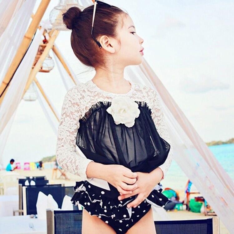 SME DHL Livraison gratuite En Gros Mignon Noir Blanc Dot Enfants Maillots De Bain beachwear + swimhat enfant filles Enfants Séparés Maillots De Bain dans Maillots de bain de Mère et Enfants