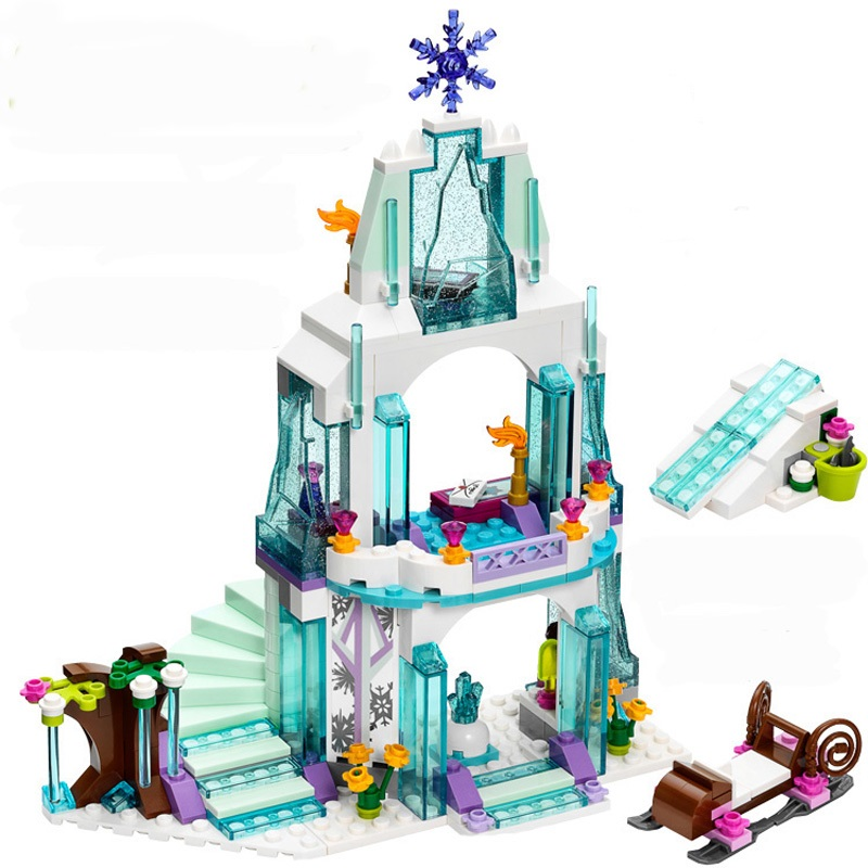 316pcs Elsa s Sparkling Ice Castle Building Blocks Toy Set Princess Friends Lepine Bricks Toys Compatible