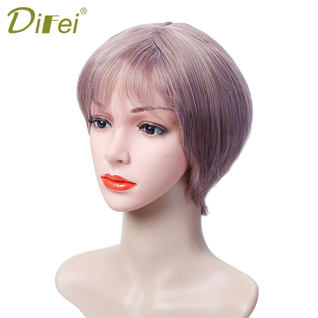 DIFEI Women s wigs look very beautiful blonde wig synthetic short wig for  women High temperature filament dc62dc8ea6