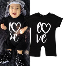 Newborn Baby Boys Girls Short Sleeve Cotton Romper Black Letter Jumpsuit Summer Outfit Clothes
