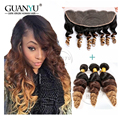 7A Peruvian Virgin Hair 3 Bundles With Ear to Ear 13x4 Lace Frontal Closure Soft Loose Wave #1B/4/27 Natural Hairline