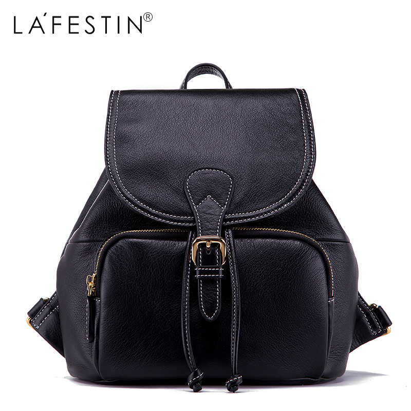 LAFESTIN Cow Leather Backpack Thread Women Classic Style Belts Backpack Girls School Bags Back Backpack Mochilas women s classic backpack