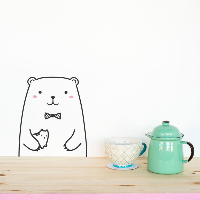 Минимализм Nordic Cute Animal Theme DIY Wall Sticker - Үйдің декоры - фото 4