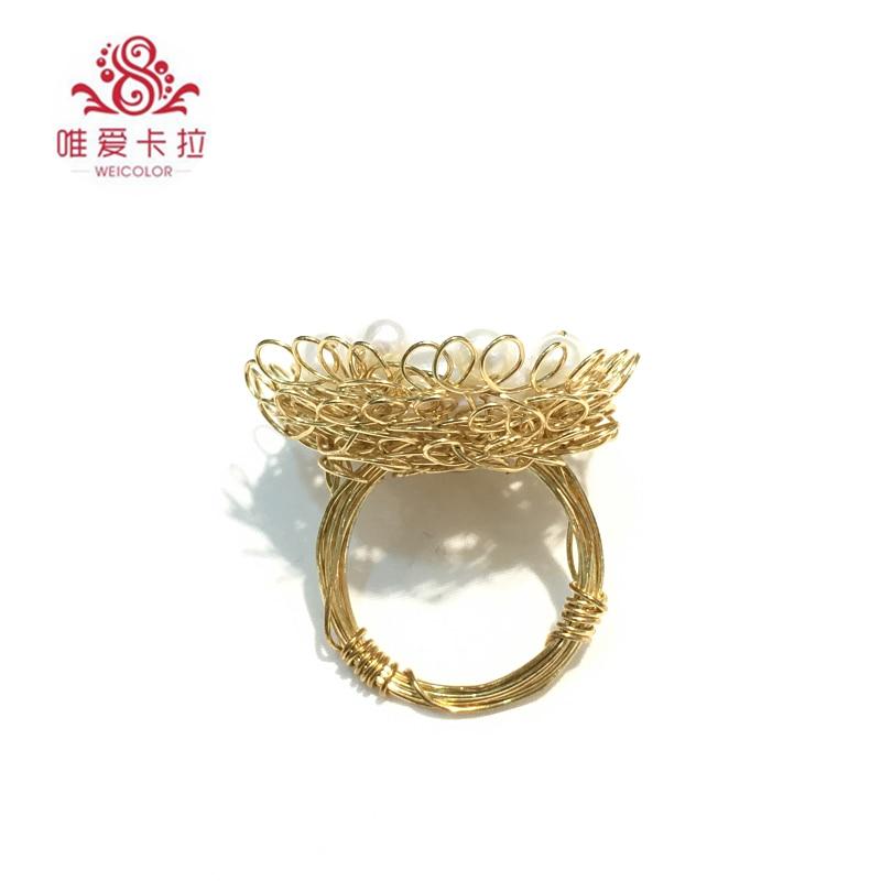 WEICOLOR di Design FAI DA TE! Anello fatto a mano, Grande Bianco Flatround Perla D'acqua Dolce in Oro Misto. Contattare per il Formato in Diametro. - 4